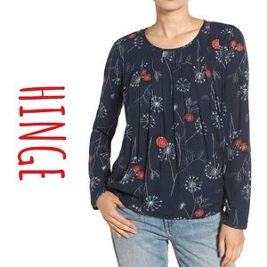 Hinge Embroidered Pintuck Pleat Top